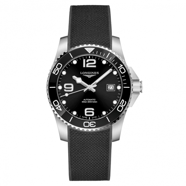 Longines HydroConquest Automatic Silber Schwarz Kautschuk-Armband 41 mm L3.781.4.56.9 | UHREN01