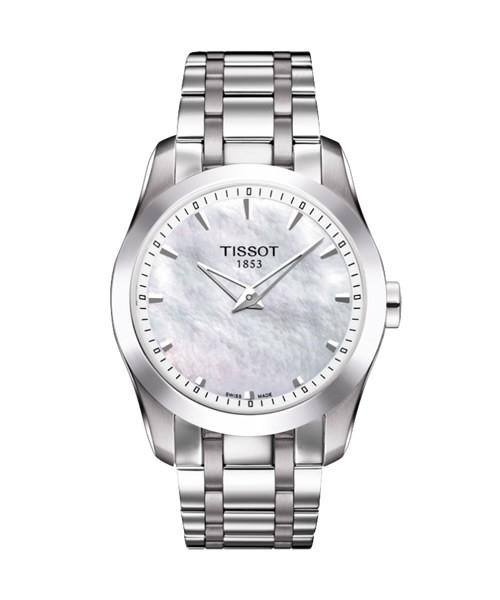 Tissot Couturier Secret Date Damenuhr silber Perlmutt Zifferblatt weiß Edelstal Armband T035.246.11.