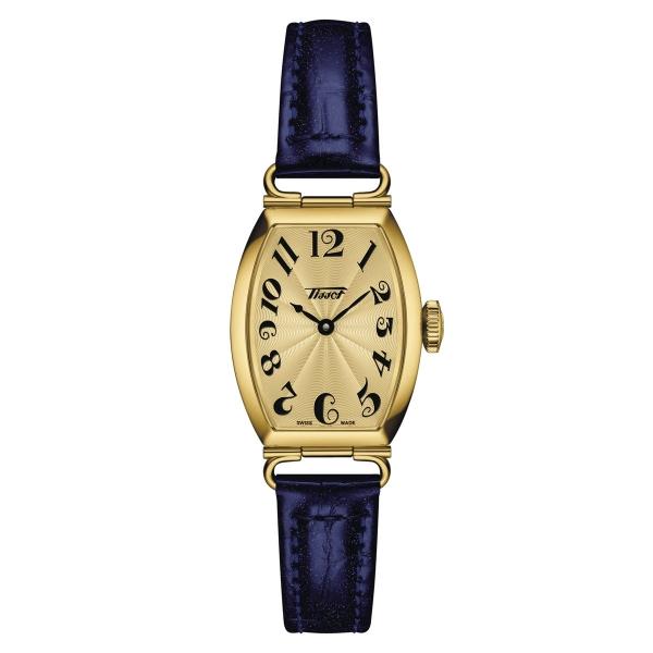 Tissot Heritage Porto Small Lady Damenuhr Gold Leder-Armband Blau Quarz T128.109.36.022.00