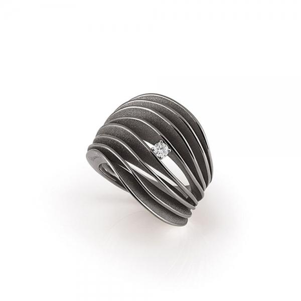 Annamaria Cammilli Ring Black Lava Gold mit Diamanten Dune Velaa GAN3151E