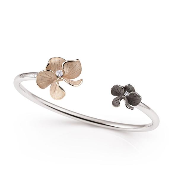 Annamaria Cammilli Armband Natural Beige & Black Lava Gold & Diamanten Bouquet Armreif GBR2923D-B-R