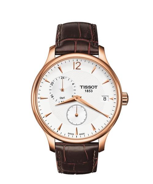 Tissot Tradition GMT Rosegold Lederarmband braun T063.639.36.037.00