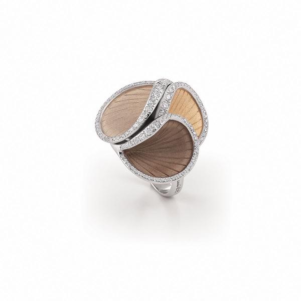 Annamaria Cammilli Musa Ring mit Diamanten Apricot- Beige- und Braun-Gold GAN2824T