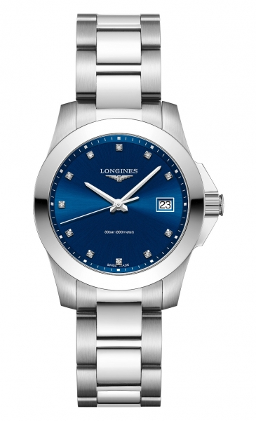Longines Conquest Damenuhr mit Diamanten 34mm silber Zifferblatt blau L3.377.4.97.6 zum günstigen Preis online kaufen | UHREN01