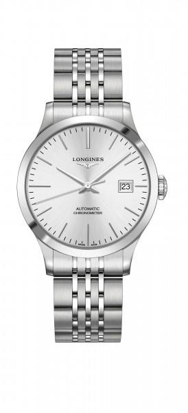 Longines Record COSC Automatik Chronometer Herrenuhr 38,5mm mit Silbernen Zifferblatt L2.820.4.72.6