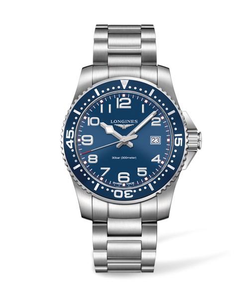 Longines HydroConquest 41mm Herren-Uhr blau Edelstahl-Armband L3.689.4.03.6 zum günstigen Preis online kaufen | UHREN01