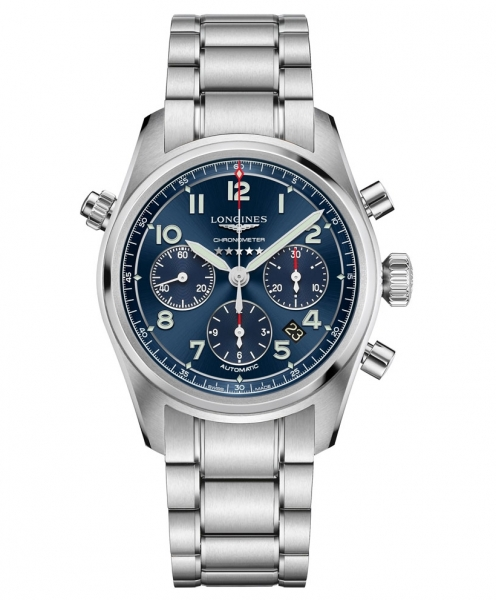 Longines Spirit Chronograph blaues Zifferblatt & Edelstahl-Armband L3.820.4.93.6
