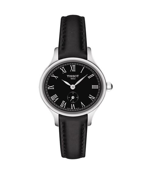 Tissot Bella Ora Piccola Uhr Damen oval schwarz Leder-Armband T103.110.17.053.00