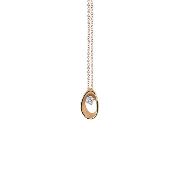 Annamaria Cammilli Halskette Orange Apricot Gold 18 Karat Anhänger mit Diamanten Dune Assolo GPE1548J | UHREN01