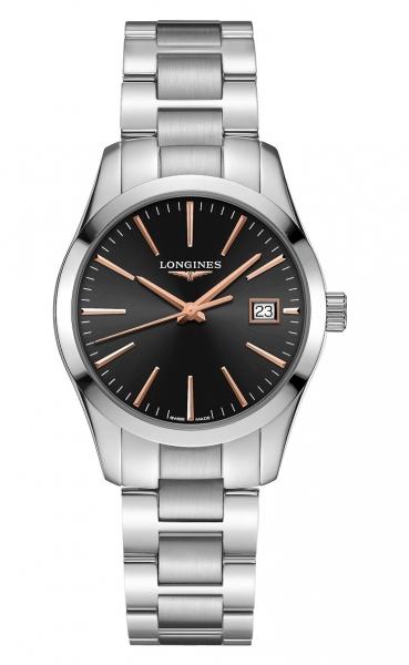 Longines Conquest Classic Damenuhr silber Zifferblatt schwarz 34mm Edelstahl-Armband L2.386.4.52.6 zum günstigen Preis online kaufen | UHREN01