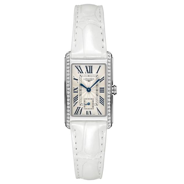 Longines DolceVita Damenuhr 37mm Quarz Weiß mit Diamanten Leder-Armband L5.512.0.71.2