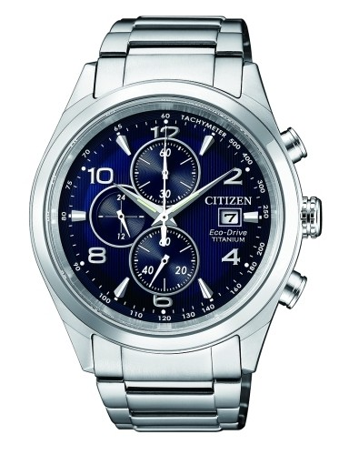 Citizen Chronograph 42mm silber blau Super Titanium Eco-Drive CA0650-82L