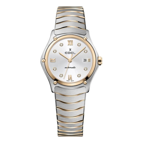 Ebel Damenuhr Sport Classic Bicolor Rosegold Silber mit Diamanten Automatik 1216429A   UHREN01