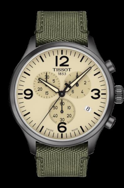 Tissot Chrono XL beige grün Textil-Armband Khaki Herrenuhr Chronograph 45mm T116.617.37.267.00