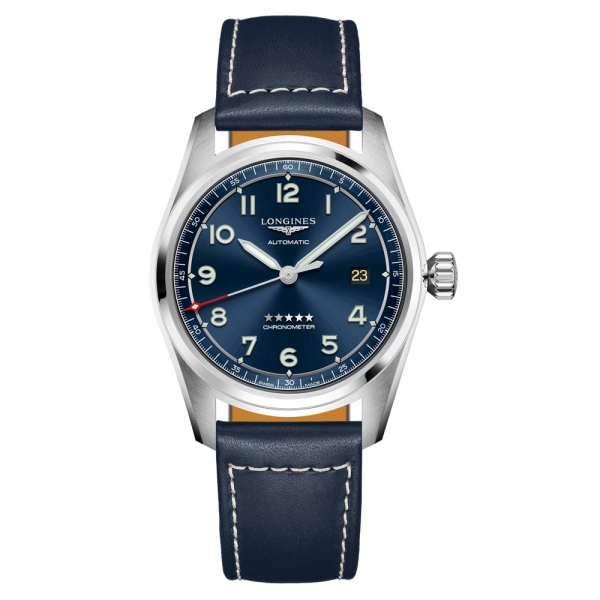 Longines Spirit Automatik Blau Leder-Armband Herrenuhr 40mm L3.810.4.93.0