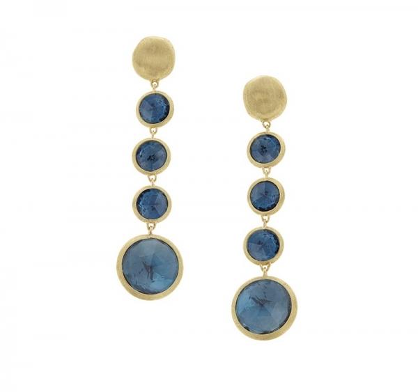 Marco Bicego Jaipur Ohrringe Gold mit blauen London-Topas Edelsteinen OB901-TPL01 | UHREN01