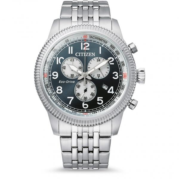 Citizen Military Chronograph Eco-Drive Solar 43mm Herrenuhr Blau Edelstahl-Armband AT2460-89L | UHREN01