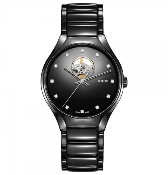 Rado True Secret Diamonds Damen & Herren Uhr Keramik Schwarz mit Diamanten R27107732 | UHREN01