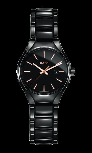 Rado True S  Keramik Damenuhr 30mm mit schwarzen Zifferblatt (R27059162)