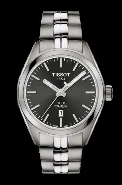 Tissot PR 100 Quarz Titanium Damenuhr 33mm mit anthrazitfarbenen Zifferblatt T101.210.44.061.00