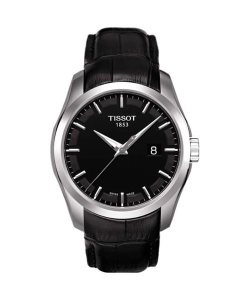 Tissot Couturier Herrenuhr 39mm schwarz Leder-Armband Quarz T035.410.16.051.00