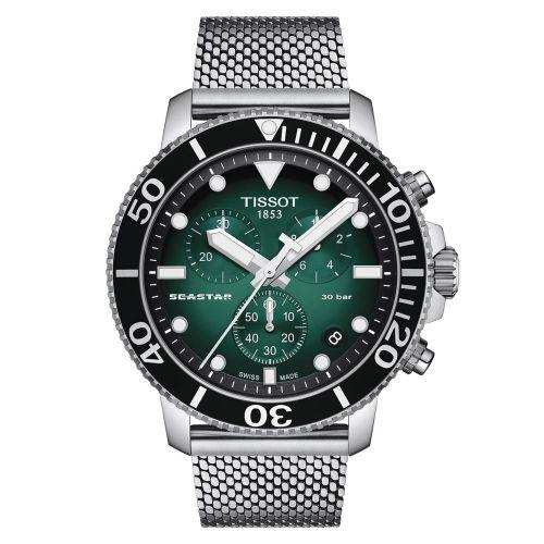 Tissot Seastar 1000 Chronograph grün mit Milanaise Armband