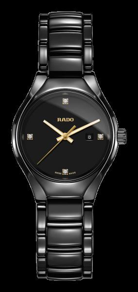 Rado True Diamonds Quarz S Damenuhr 30mm mit 4 Diamanten und schwarzem Zifferblatt R27059712