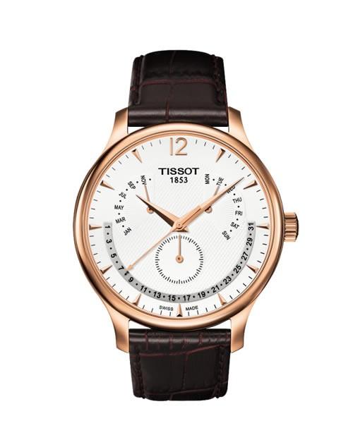 Herrenuhr Tissot Tradition roségold mit Ewiger Kalender T063.637.36.037.00