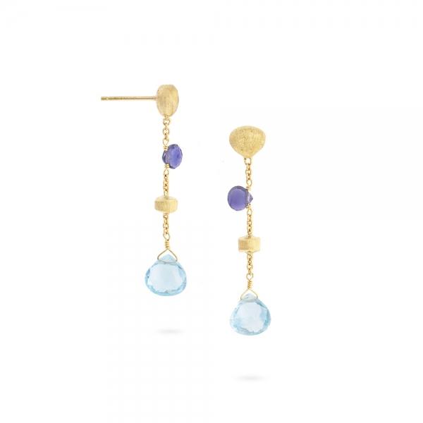 Marco Bicego Paradise Ohrringe mit blauen & lila Edelsteinen Gold OB1554-MIX240-Y-02 | Schmuck Sale | UHREN01