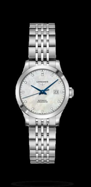 Longines Record Damen Automatic Uhr mit Diamanten silber Perlmutt-Zifferblatt weiß L2.321.4.87.6 zum günstigen Preis online kaufen | UHREN01