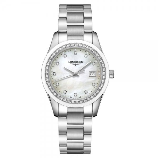 Longines Conquest Classic Silber mit Diamanten & weißem Perlmutt-Zifferblatt 36mm L2.387.0.87.6