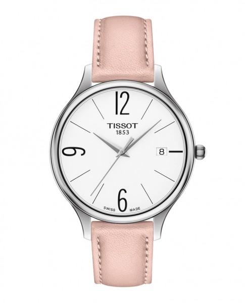 Tissot Bella Ora Round Damenuhr mit rosa & blauem Leder-Armband T103.210.16.017.00