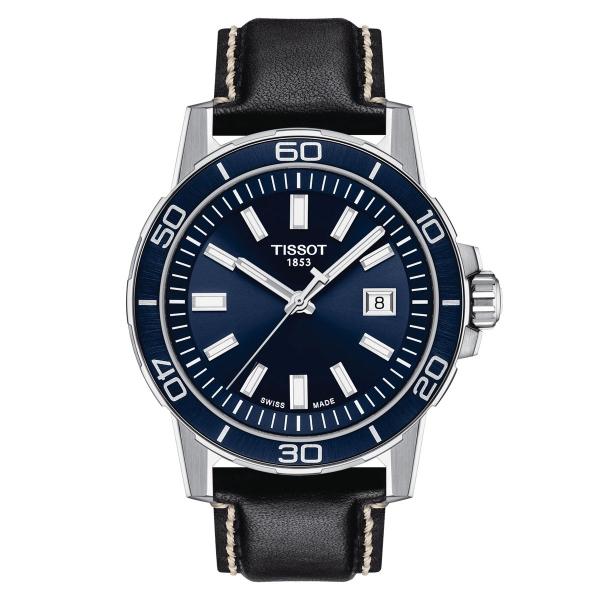 Tissot Supersport Herrenuhr 44mm Blau Leder-Armband T125.610.16.041.00