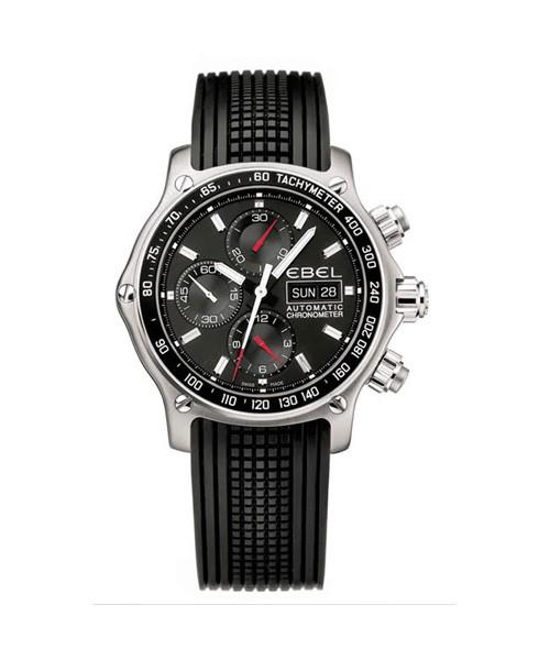 Ebel Chronograph Auomatik Uhr Herren Chronometer COSC Edelstahl Kautschuk Armband schwarz 1911 Discovery 1215796
