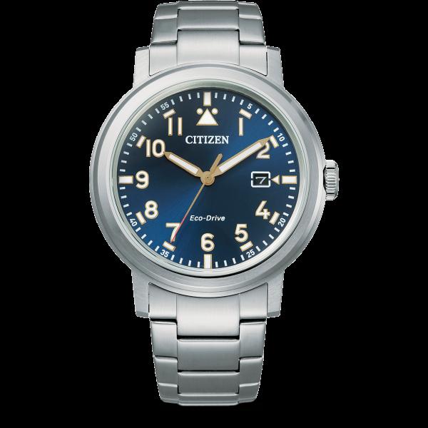 Citizen Military Eco-Drive Herrenuhr Quarz Blau Edelstahl-Armband AW1620-81L AW1620-81L | UHREN01
