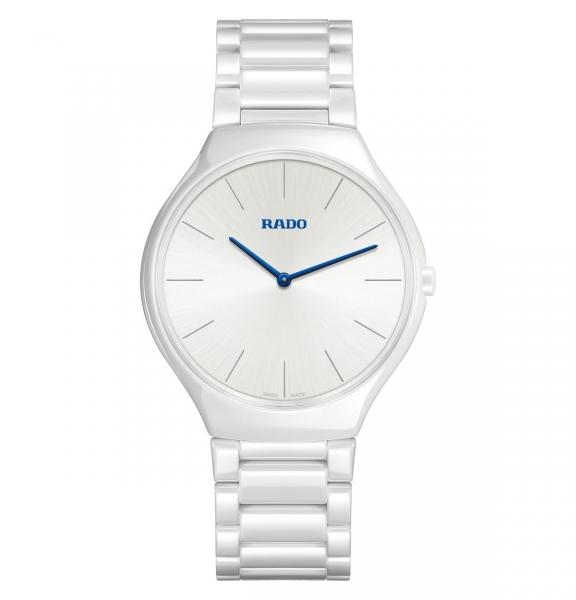 Rado True Thinline Uhr Damen Herren Keramik Weiß 39mm Quarz R27957022
