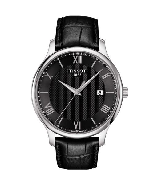 Tissot Tradition (T063.610.16.058.00) Vintage Uhr mit schwarzem Lederarmband