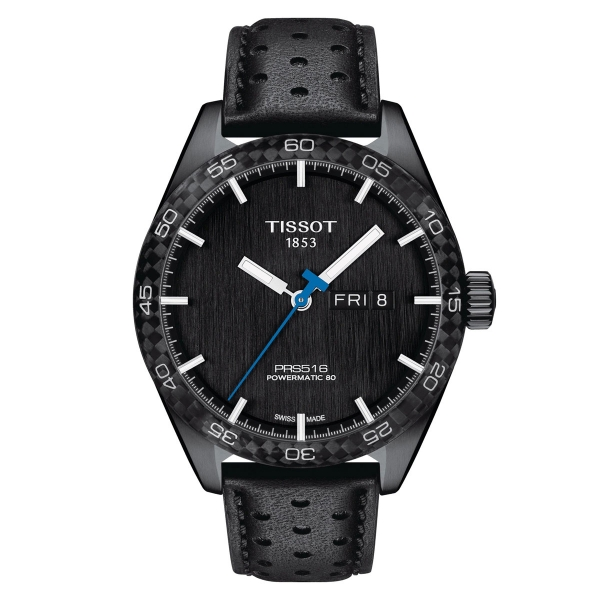Tissot PRS 516 Powermatic 80 Herrenuhr 42mm Schwarz Leder-Armband T100.430.36.051.02