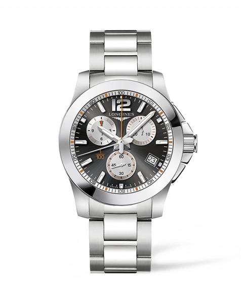 Longines Conquest Roland Garros 1/100 41mm Herren-Uhr Chronograph silber schwarz L3.700.4.79.6 zum günstigen Preis online kaufen | UHREN01