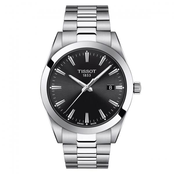 Tissot Gentleman Quartz Herrenuhr Edelstahl-Armband Silber & Zifferblatt Schwarz 40mm T127.410.11.051.00 | UHREN01