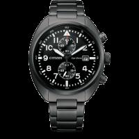 Citizen Eco-Drive Herrenuhr Chrono 41mm mit schwarzem Edelstahl Metall-armband CA7047-86E | UHREN01