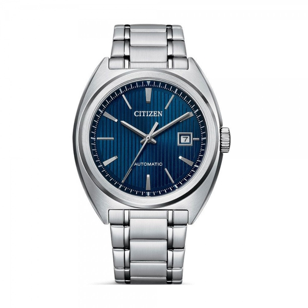 Citizen Herrenuhr Automatik 42mm Silber Blau Edelstahl-Armband Elegant NJ0100-71L