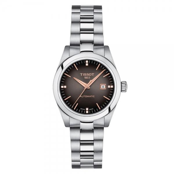 Tissot T-My Lady Automatic Damenuhr mit Diamanten Edelstahl- & Leder-Armband T132.007.11.066.01