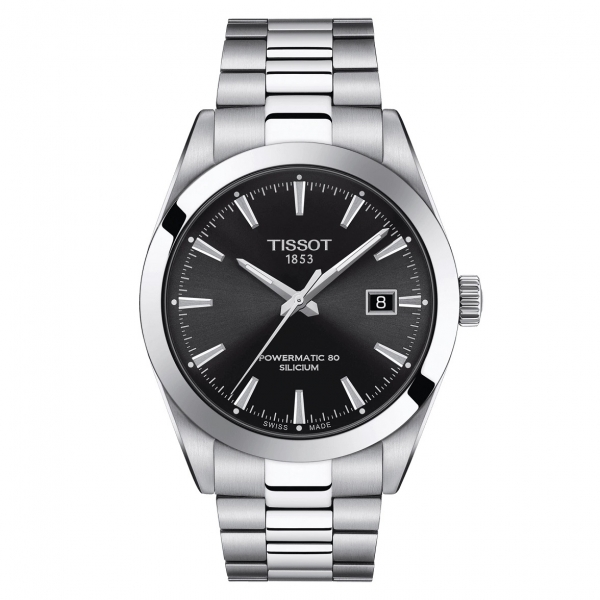 Tissot Gentleman Powermatic 80 Silicium Automatik Uhr Metallarmband Herren Schwarz 40mm T127.407.11.051.00 | UHREN01