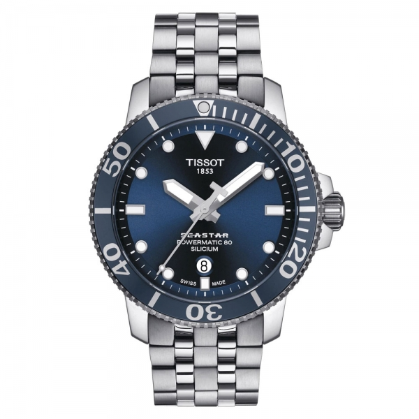Tissot Seastar 1000 Powermatic 80 Automatic Silicium 43mm Blau Edelstahl-Armband T120.407.11.041.01