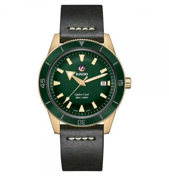 Rado Captain Cook Bronze Grün Leder-Armband Herrenuhr Automatik XL 42mm R32504315
