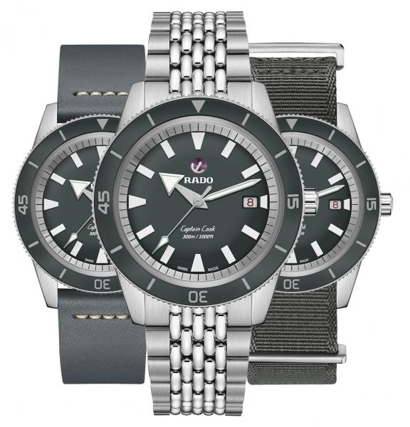 Rado Captain Cook Limited Edition Revolution Automatic XL 42mm Grau 3 Armbänder Set R32105103 | Uhren01