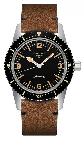 Longines Skin Diver Heritage Automatic Herrenuhr 42mm schwarz mit Lederarmband braun L2.822.4.56.2 zum günstigen Preis online kaufen | UHREN01