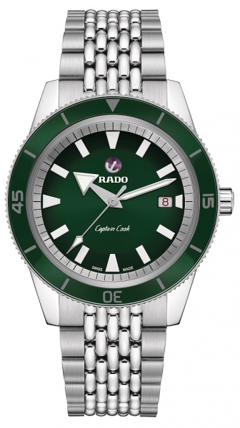 Rado HyperChrome Captain Cook Automatik Uhr Herren 42mm grün Edelstahl-Armband R32505313 | Uhren01