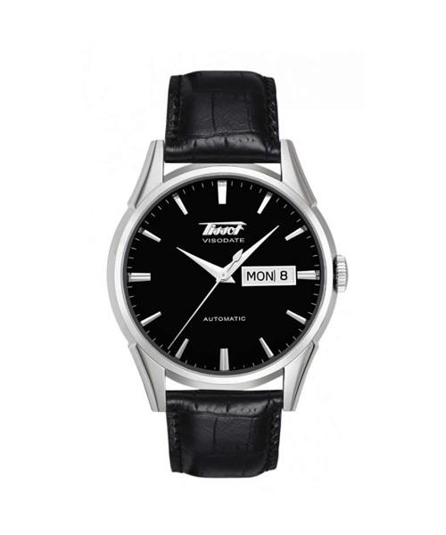 Tissot Visodate Automatic 40mm schwarz Herrenuhr mit Lederarmband T019.430.16.051.01